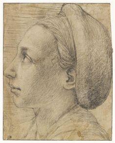 Tête de femme, de profil, tournée vers la gauche