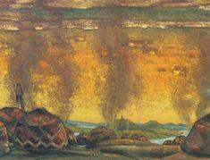 "Nicholas Roerich, Polovtsian Camp Décor for Borodin's opera ""Prince Igor"", 1908"