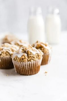 Glazed Coffee Cake Muffins | Browned Butter Blondie | A soft and tender muffin recipe topped with a crunchy, buttery streusel and a homemade sweet vanilla glaze. All the best things about coffee cake in muffin form. These glazed coffee cake muffins are perfect for a lazy Sunday brunch or a weekday breakfast on the go. Fun Baking Recipes, Muffin Recipes, Sweet Recipes, Breakfast Recipes, Dessert Recipes, Fall Recipes, Holiday Recipes, Brunch Recipes, Summer Recipes