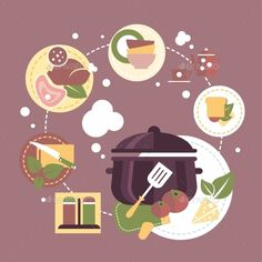 Cooking Dishes Vector Infographics