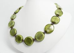 Green Necklace, Glass Beaded Necklace, Olive Green and Purple, Lampwork Beads. Modern Jewelry