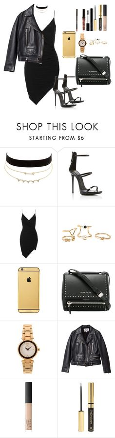"""Night"" by ornellaarias ❤ liked on Polyvore featuring Charlotte Russe, Giuseppe Zanotti, Topshop, Goldgenie, Givenchy, Versace, Acne Studios, NARS Cosmetics, Yves Saint Laurent and Giorgio Armani"