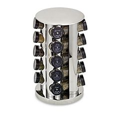 image of Kamenstein® Stainless Steel 20-Jar Filled Revolving Spice Rack Tower
