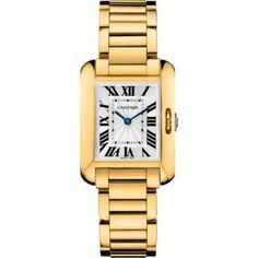 Cartier Tank Anglaise Small Yellow Gold Women's watch equipped with Swiss made Cartier 057 calibre quartz movement. The 30.20 x 22.70 mm yellow gold rectangular case features a opaline silver dial. Fu