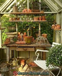 If I had a greenhouse or potting shed that was this beautiful, I think I would live in it. If I had a greenhouse or potting shed that was this beautiful, I think I would live in it. Greenhouse Shed, Small Greenhouse, Greenhouse Gardening, Greenhouse Wedding, Allotment Shed, Greenhouse Film, Portable Greenhouse, Backyard Greenhouse, Fairy Gardening
