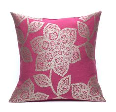 """Raspberry Pink Silver Floral Throw Pillow #home #decor"""