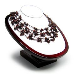 "Amazon.com: HinsonGayle ""Katarina"" Handwoven Five-Strand Natural Garnet and Chocolate Cultured Pearl Necklace: HinsonGayle: Jewelry"