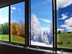 4 seasons in windows art Window View, Color Of Life, Creative Words, Four Seasons, Word Of God, Google Images, Wedding Favors, Disney, Beautiful Pictures