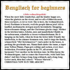 A little denglisch Weihnachtsgedicht - When the snow falls wunderbar, and the Kinder happy are...
