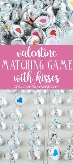 Valentine's Day Matching Game with Hershey Kisses - use these free printable dots to make a fun game. All ages love this game, it involves eating chocolate! #valentinesday #valentinegame #hersheykiss