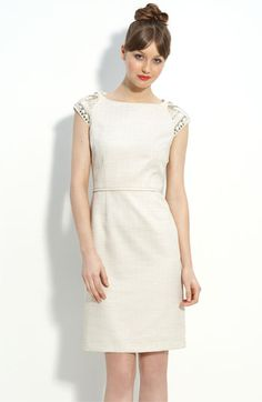 Tahari by Arthur S. Levine Metallic Woven Sheath Dress with Bead Trim - Nordstrom $128.00