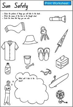 summer safety activity sheets - Google Search