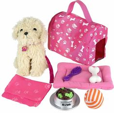Click n' Play 9 piece Doll Puppy Set and Accessories. Perfect For 18 inch American Girl Dolls - Most Wanted Christmas Toys Little Girl Toys, Cool Toys For Girls, Christmas Toys For Girls, American Girl Doll Sets, Tinker Toys, 10 Year Old Girl, Toy Store, Doll Accessories, American Girl Accessories
