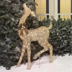 """Holiday Time 52"""" Champagne Standing Doe Light Sculpture"""