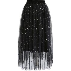 Chicwish Glittering Dots Velvet Mesh Tulle Skirt in Black ($47) ❤ liked on Polyvore featuring skirts, black, dot skirt, tulle ballet skirt, going out skirts, glitter skirt and gothic skirts