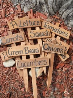 20 Easy Handmade Plant Label & Marker Ideas DIY and Crafts to Inspire to Everyone who Love DIY!You are here: / / 20 Easy Handmade Plant Label & Marker Easy Handmade Plant La Garden Labels, Plant Labels, Veg Garden, Terrace Garden, Vegetable Gardening, Vegetable Garden Markers, Garden Plant Markers, Cedar Garden, Terraced Vegetable Garden