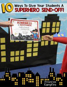 10 Ways To Give Your Students A Superhero Send-Off! - Around the Kampfire Superhero Preschool, Superhero Classroom Theme, School Classroom, Classroom Themes, Superhero Ideas, Autism Classroom, Superhero Party, Classroom Resources, Future Classroom