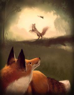 Beautiful Dreamy Fox illustration