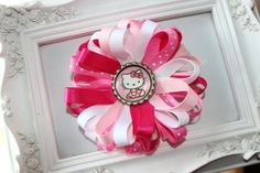 Hello Kitty Pink and White Ribbon Hair Clip by MommyDaughterCrafts, $4.99
