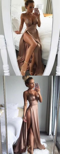 simple blush v neck long prom dresses, sexy formal dresses with high slit, modest satin party dresses