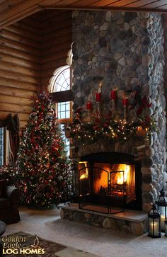Inspiring Rustic Christmas Fireplace Ideas To Makes Your Home Warmer 11 Christmas Scenes, Noel Christmas, Country Christmas, Christmas Lights, Christmas Decorations, Cabin Christmas Decor, Christmas Interiors, Rustic Stone, Christmas Fireplace