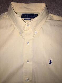 Ralph Lauren Classic Fit 17 34/35 Button Down Shirt Yellow White Stripe Pony #LaurenRalphLauren
