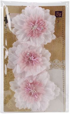 "lyric fabric flowers 3"" 3/pkg-pink"