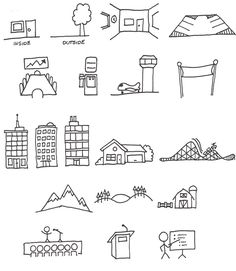 Sketch notes  Simple lines and shapes that communicate a location.