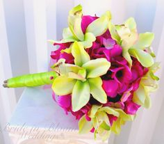 pink and lime green wedding | ... wedding bouquet set https www etsy com listing…
