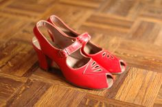 vintage NOS 1940s shoes / 40s red leather mary by honeytalkvintage, $100.00
