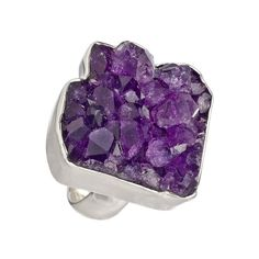 Charles Albert Purple Rocky Amethyst Geode Ring ($188) ❤ liked on Polyvore