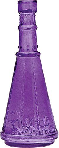 Purple: Luna Bazaar #Purple Decorative Glass Bottle (cone shape) Cultural Intrigue.