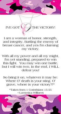 This is for my sister Margaret who is fighting this battle....but, she has a strong faith that will see her through it all.....I love you Margaret!