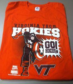Virginia Tech Hokies T-Shirt Size Large Marvel Comics Short Sleeve Tee #RussellAthletics #VirginiaTechHokies