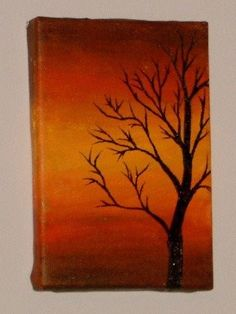 Tree silhouette during sunset Original Acrylic painting on canvas board...i love drawing trees..this would be awesome
