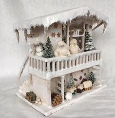 Antique Christmas beautiful German winter wonderland large musical Snow House filled with antique porcelain dolls and other accessories. A true fairy tale house to display all year, the house is one of a kind and extremely rare, not something you often see. | eBay!