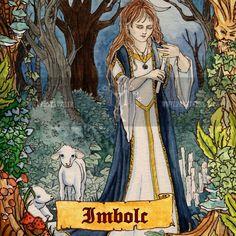 """Carte postale illustrée de la fête païenne """"Imbolc"""" / Postcard illustrated by the pagan event """"Imbolc"""""""