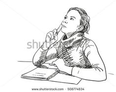 Sketch of girl thinking with notebook on table, Hand drawn vector illustration