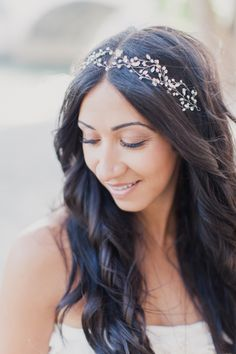 #hair #inspiration long loose waves and a crystal headband by http://amandajudgeny.com,  Photography: Mademoiselle Fiona - www.mademoisellefiona.com