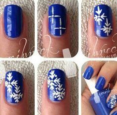 Easy snow flake nail design