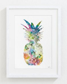 Colorful Pineapple Art  Watercolor Painting  5x7 by ElfShoppe, $15.00