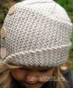 Схема схемы вязания спицами детская шляпка с косым отворотом и пуговицами