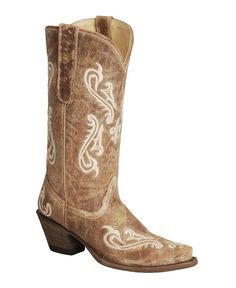 Corral Cortez Distressed Fleur-De-Lis Embroidered Cowgirl Boots - Snip Toe