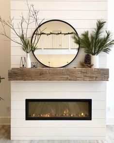"I'm so happy with our new ""winter mantle"" decor! It always makes me sad t… I'm so happy with our new ""winter mantle"" decor! It always makes me sad to completely take down Christmas decor so instead of removing… Shiplap Fireplace, Farmhouse Fireplace, Home Fireplace, Living Room With Fireplace, Fireplace Design, Home Living Room, Living Room Decor, Fireplace Ideas, Fireplace With Mirror"