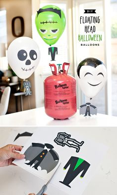 """DIY Halloween Balloons with """"Floating Heads"""""""