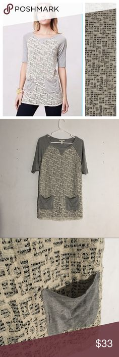 """Anthropologie Weston Wear Lace Overlay Tunic Size: small // • length: 30"""" • this tunic has a crochet overlay on black and white stripes • pocket detail in the front • could be worn as a dress depending on your height • great condition Anthropologie Tops Tunics"""