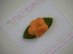 Mini apricot orange cherry blossom wool felt hair by lilchatterbox, $5.50