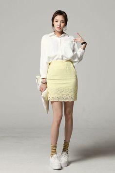 Pale yellow lace skirt