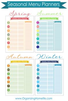 This Seasonal Menu Planning Kit contains 4 printable menu planners for Spring, Summer, Autumn, and Winter. Each printable has space for planning your weekly menu with separate areas to note recipe sources and grocery items needed. Menu Planning Printable, Planning Menu, Planning Budget, Printable Planner, Free Printables, Planner Pages, Meal Planner, Life Planner, Happy Planner