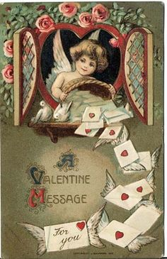 vitagage victorian | vintage Victorian valentines cupd cherub letters with wings